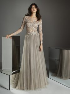 Neutral shade wedding gown