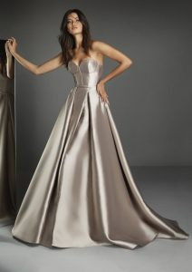 Taupe coloured wedding gown