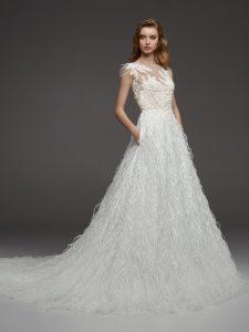 White wedding dress with train