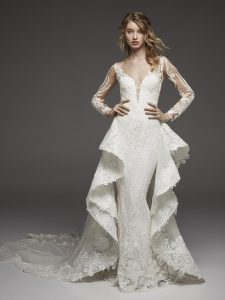 Wedding dress with chapel length train