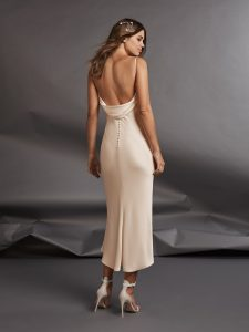 Midi length wedding dress from back