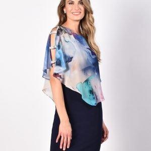 multi-coloured chiffon cape Dress.JPG