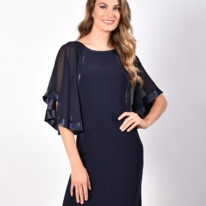 Chiffon Cape Style Sleeves with Satin Trim dress.JPG