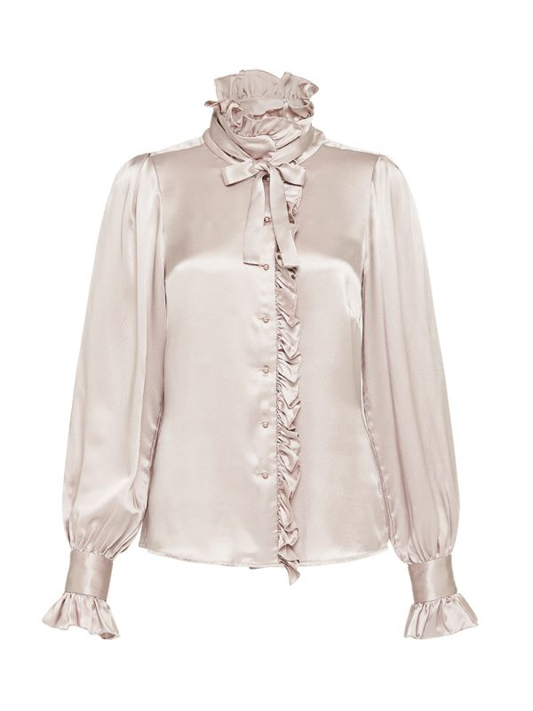Ruffle collar with neck tie Silk satin shirt.JPG