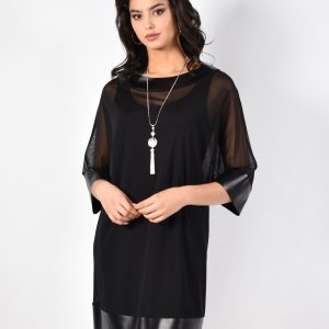 black dress with separat flattering sheer overlay.JPG