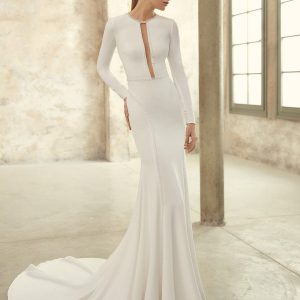 Pippa Pronovias Long Sleeve Crepe Gown